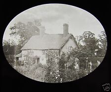 Glass Magic Lantern Slide UNKNOWN WARWICKSHIRE COTTAGE C1910 ENGLAND