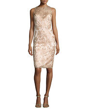 Marchesa Notte Sleeveless Embroidered Illusion Cocktail Dress, Blush $645