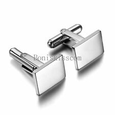 Polished Stainless Steel Men's Wedding Cuff Link Rectangle Cufflinks Silver