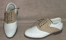 Women's white/tan MIZUNO golf  saddle shoes / cleats , sz 6 , MIZ collection