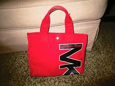 Michael Kors Red Canvas Throw back Tote Bag Purse