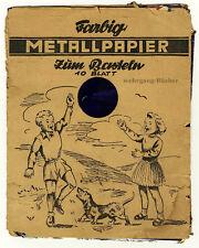 Farbig Metallpapier zum Basteln. 10 Blatt um 1930