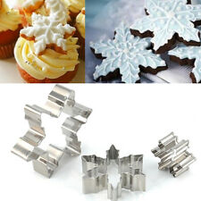 3PCS Xmas Frozen Snowflake Cookie Cutters Cake Fondant Biscuit Cutter Mould Mold