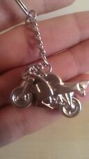 Brand New 3D Motorcycle Key Ring Chain - Silver Keychain - UK SELLER
