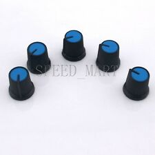 5PCS Black Knob Blue Face Rotary Switch Potentiometer Volume Pointer Hole 6mm