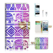 iPod Touch iTouch 5 Print Flip Wallet Case Cover! Aztec Elephant P0432