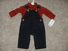 Carter's Baby Boys Red Black Overalls Outfit Set Size Newborn NB NWT NEW Clothes