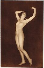 1920's Vintage German Female Nude Model Art Deco Fiedler Photo Gravure Print