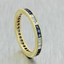 1930s Antique Art Deco 18k Solid Yellow Gold Sapphire Diamond Eternity Band Ring