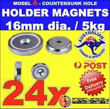 24X Magnetic Countersunk POT Holders 16mm 5kg hold
