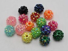 20 Mixed Colour Acrylic Rhinestone Pave DISCO Ball Beads 12mm Shamballa Bracelet