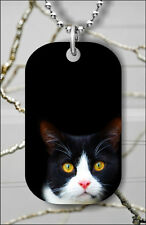 CAT FACE BLACK AND WHITE DOG TAG NECKLACE PENDANT FREE CHAIN -drt7Z