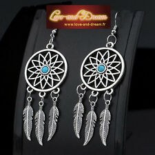 Boucles d'oreilles attrape rêve, argentée, pierre bleue | Dreamcatcher Earrings
