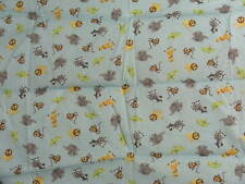 "Baby Panel Cheater Fabric, BP 102,"" Safari Animals Against Sky Blue Background"""