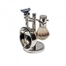 NEW 4-Piece Silver Plated Mens Shaving Set - Stand, Razor, Bowl, Soap and Brush