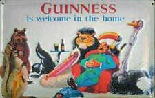 Cartello in Metallo 'Guinness is Welcome in the home' Goffrato 300mm x 200mm (hi