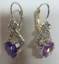 Earrings Crystal Purple Heart Drop Rhinestone Cluster Hypoallergenic NWT BVG 180