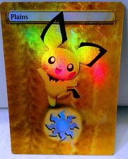 3 FOIL MTG ALTERED ART PLAINS PICHU PIKACHU RAICHU POKEMON EDH COMMANDER CUBE
