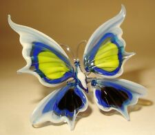 "Blown Glass Figurine ""Murano"" Art Insect White, Blue, Yellow and Black BUTTERFLY"