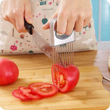 kitchen Stainless Steel Onion Vegetable Tomato Cutter Holder Slicer Gadget Easy