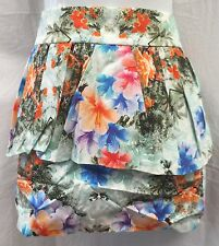 BNWT Floral Print ZARA Mini Skirt With Peplum Size L (UK 12-14) RRP £29.99