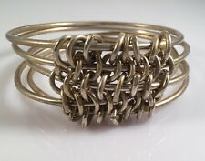 Silver Tone Linked Skinny Bangles Bracelets w Connecting Chains Set Of Five