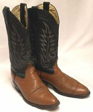 BEN MILLER Mens Size 6.5-7 EE Brown Bullhide Black Leather Western Cowboy Boots