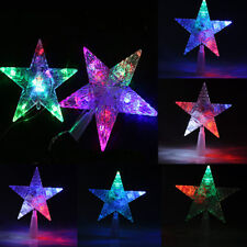 Christmas Xmas Tree Topper Star Colorful Changing LED Light Lamp Xmas Decoration