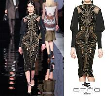 NEW ETRO RUNWAY SILK TAFFETA AND VELVET BLACK GOLD DRESS 38 - 2