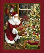 Santa & Christmas Tree Best Time of the Year Fabric Panel Quilting Treasures