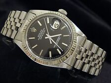 Rolex Datejust Mens Stainless Steel 18K White Gold Black w/ Jubilee Band 1601