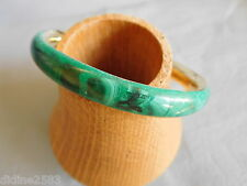 BRACELET FEMME JONC PIERRE NATURELLE VERTE MALACHITE LAITON GREEN BRASS BANGLE
