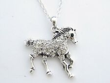 Horse Clear Crystal Pendant Silver Chain Necklace Jewelry Pony Equestrian Barrel