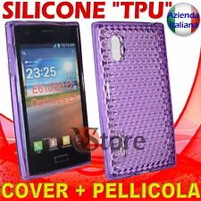 Cover Custodia Per LG L5 Optimus E610 Viola Gel Silicone TPU + Pellicola Display