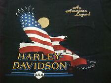 VTG 80s Harley Davidson An American Legend Eagle Flag Pocket T-Shirt Large L H55