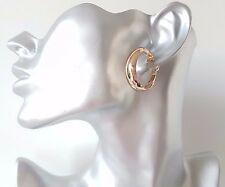 Gorgeous shiny gold tone small wide CLIP ON hoop earrings - 3cm CLIP ON EARRINGS
