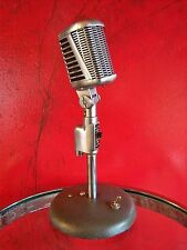 Vintage 1950's Astatic 77A Dynamic cardioid microphone old used w Atlas stand
