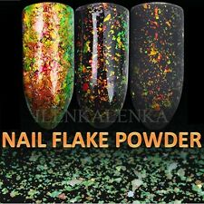 Chameleon Nail Flake Glitter Powder Broken Glass Foil Pigment Green Gold Effect