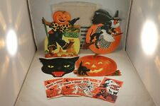 VTG LOT HALLOWEEN Forbes LITHO CUTOUTS Ephemera WITCH Cat BROOM + 4 CANDY Bags