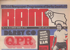 Football Programme/Newspaper DERBY COUNTY v QPR Mar 1978
