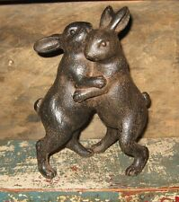 Hugging BUNNY Rabbits Figurine*Primitive/French Country/Easter Farmhouse Decor