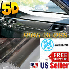 "5D Carbon Fiber ""ULTRA GLOSS"" Vinyl Paint Wrap DIY Sticker Film 12""x60"" 5FT x1FT"