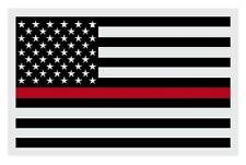 "American Flag Black with Firefighter Red Line Reflective Decal Sticker 2"" X 3"""