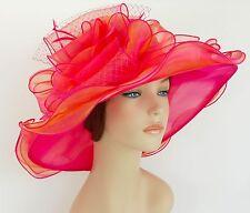 New Church Kentucky Derby Wedding Organza Wave Ascot Dress Hat 3190 Hot Pink