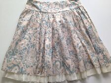 JUICY COUTURE Silk and Cotton Ruffled Teal and Cream Skirt, Size: 2