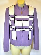 ST JOHN Sport Lavender Purple white colorblock Zip Front Cardigan Sweater S