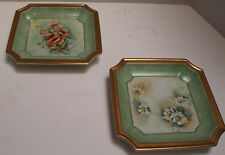 Two Beautiful Square shaped Hand-Painted Porcelain Decorative dishes