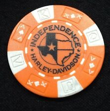 College Station, Texas Independence Harley Poker Chip / Orange & White (Vers. 2)