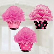 PINK DELUXE FLUFFY DECORATION CUP CAKE pom pom syle all occassions