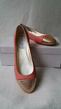 NIB JIMMY CHOO Waine Ballet Flats Coral Gold Metallic 37.5 Mesh Cap Toe Shoes